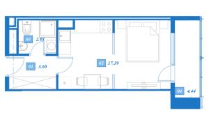 Планировка 1-комнатной квартиры в Савеловский Сити